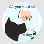 all you need is love and a dog pink blue pit bull classic round sticker