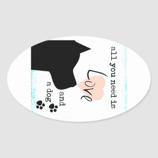 all you need is love and a dog pink blue pit bull oval sticker