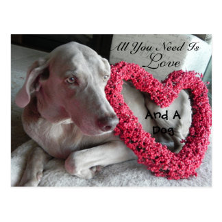 All You Need Is Love - and A Dog (Raina) Postcards