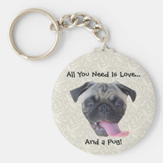 All You Need is Love and a Pug Keychains