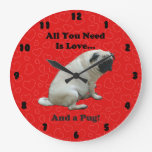 All You Need Is Love...And a Pug! Wall Clock