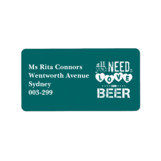 All You Need is Love and Beer Custom Address Label