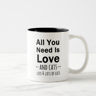 All You Need is Love ... and cats.  Lots of Cats. Two-Tone Coffee Mug