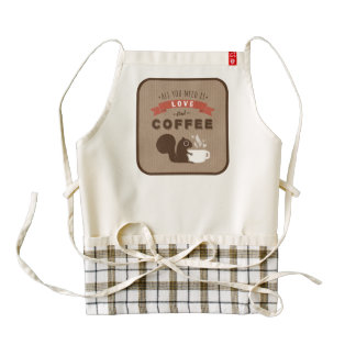All You Need is Love and Coffee - Squirrel Zazzle HEART Apron