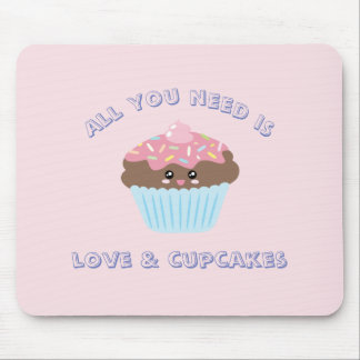 All You Need Is Love And Cupcakes Pastel Colors Mouse Pad