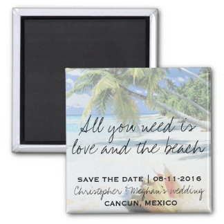 All You Need Is Love and The Beach Save Date 2 Inch Square Magnet