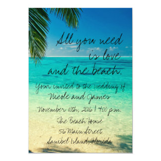 """All You Need Is Love and The Beach Wedding Invite 5"""" X 7"""" Invitation Card"""