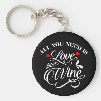 All You Need is Love and Wine Chalkboard Keychain