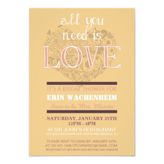 All You Need Is Love Bridal Shower Invitation