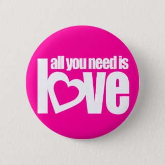 """""""all you need is love"""" button badge in pink white"""