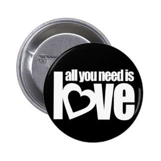 """all you need is love"" button badge in red / white"