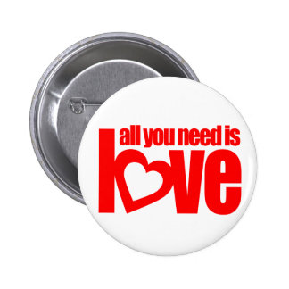 """all you need is love"" button badge in white / red"
