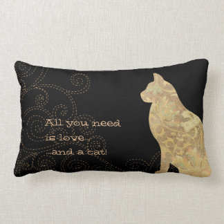 All You Need is Love Cat Swirl Lumbar Pillow