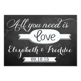 All You Need Is Love Chalkboard Wedding Collection 3.5x5 Paper Invitation Card
