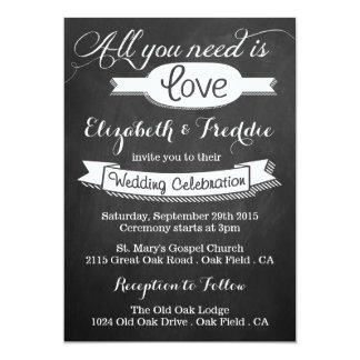 All You Need Is Love Chalkboard Wedding Collection 5x7 Paper Invitation Card