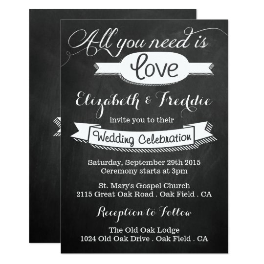 All You Need Is Love Chalkboard Wedding Collection Invitation