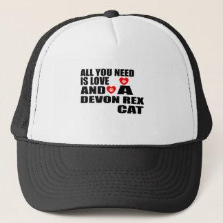ALL YOU NEED IS LOVE DEVON REX CAT DESIGNS TRUCKER HAT