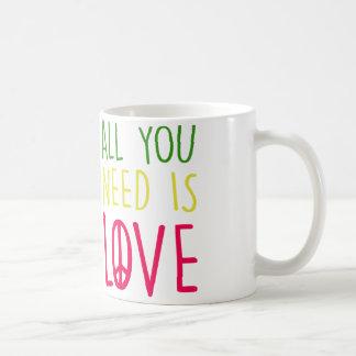 All You Need Is Love Fun Rasta Peace Sign Graphic Coffee Mug