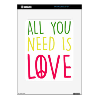 All You Need Is Love Fun Rasta Peace Sign Graphic Decals For iPad