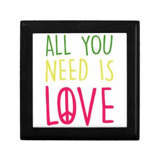 All You Need Is Love Fun Rasta Peace Sign Graphic Keepsake Box