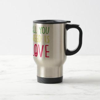 All You Need Is Love Fun Rasta Peace Sign Graphic Travel Mug