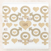 All you need is love glass coaster