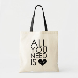 All You Need Is Love Monogram Wedding Tote Bag