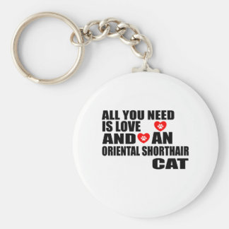 ALL YOU NEED IS LOVE ORIENTAL SHORTHAIR CAT DESIGN KEYCHAIN
