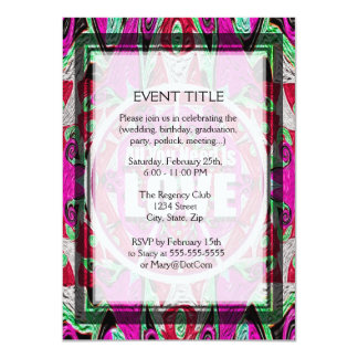 All You Need is Love Pattern with Peace Symbol 4.5x6.25 Paper Invitation Card