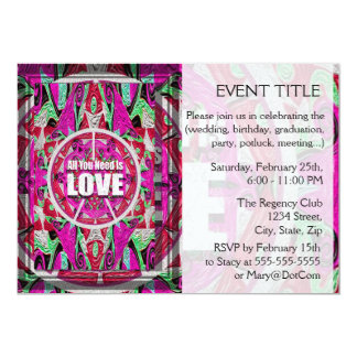 All You Need is Love Pattern with Peace Symbol 5x7 Paper Invitation Card