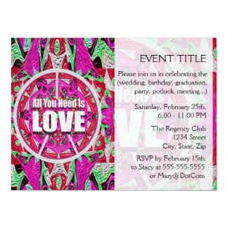 All You Need is Love Pattern with Peace Symbol 6.5x8.75 Paper Invitation Card