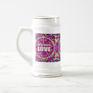 All You Need is Love Pattern with Peace Symbol Beer Stein