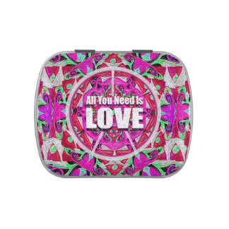 All You Need is Love Pattern with Peace Symbol Candy Tin