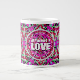 All You Need is Love Pattern with Peace Symbol Large Coffee Mug