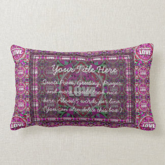 All You Need is Love Pattern with Peace Symbol Lumbar Pillow