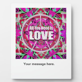 All You Need is Love Pattern with Peace Symbol Plaque