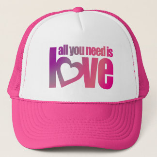 """""""all you need is love"""" pink purple hat / cap"""