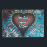 "All You Need Is Love Placemat<br><div class=""desc"">12"" x 18"" paper placemat with an image, on both sides, of blue and purple tie-dye with a deep purple heart. Optional text. See matching cloth placemat, cloth napkin, paper cocktail napkin and coasters. See the entire Psychedelic 60s Placemat collection in the FOOD/BEV 