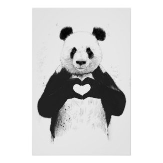Cool Panda Stuff All You Need Is Love Poster