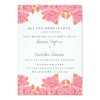 All You Need Is Love Quote Rose Wedding Invite