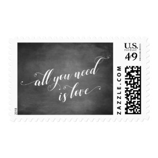 All You Need is Love Script w/ Hearts, Chalkboard Postage