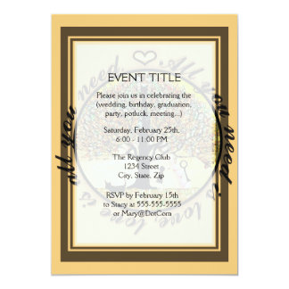 All you need is love tree of life with rainbow. 5x7 paper invitation card