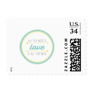 All you need is love | turquoise and yellow stamp