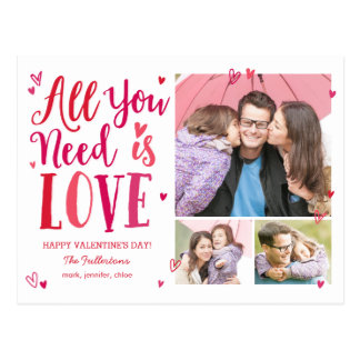 All You Need Is Love Valentine's Day Postcard