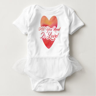 All You Need Is Love Watercolor Design Baby Bodysuit