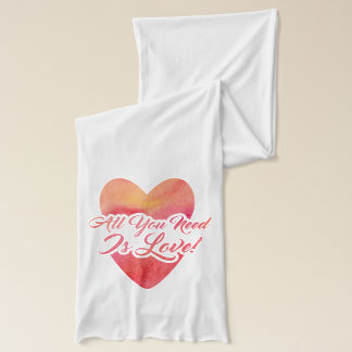 All You Need Is Love Watercolor Design Scarf