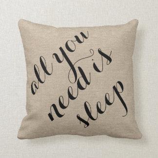 All you need is sleep burlap linen rustic chic jut throw pillow