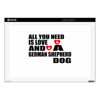 """All You Need Love GERMAN SHEPHERD Dogs Designs 17"""" Laptop Decals"""