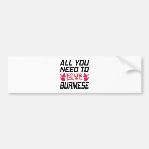All You Need To Love Burmese Cat Bumper Sticker