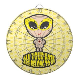 All Your Base Are Belong To Us Yellow Dartboard